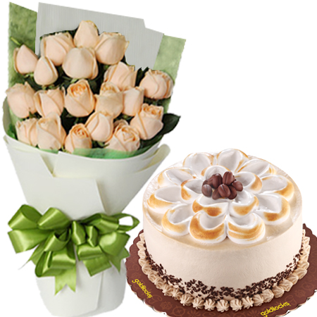 Buy 24 Peach Roses With Coffee Latte Cake To Manila