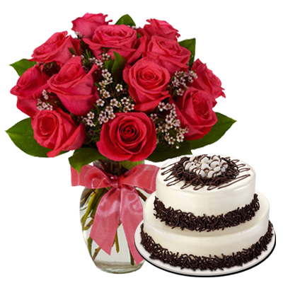 12 Red Roses In Vase With Double Deck Cake