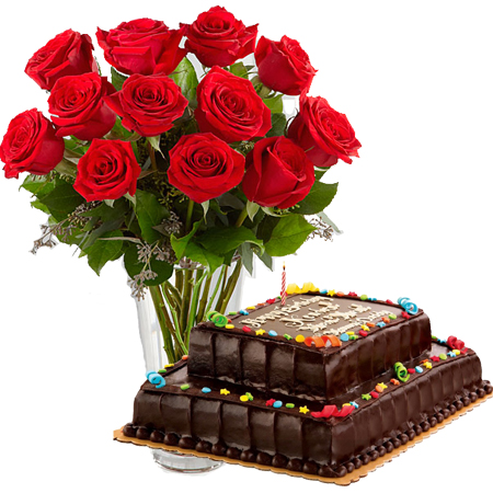 Birthday 12 Roses With Double Deck Cake To Manila Delivery