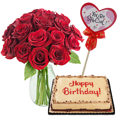 12 Red Rose In Vase With Cakes To Cebu