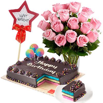 Buy 18 Rose Get 6 Roses Free W Birthday Cake