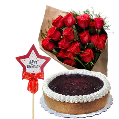 12 Red Rose With BlueBerry CheeseCake