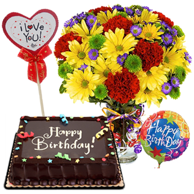 Mix Flowers In Vase With Cake And Balloons To Manila