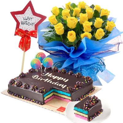 Yellow Rose Bouquet With Chocolate Cake To Philippines