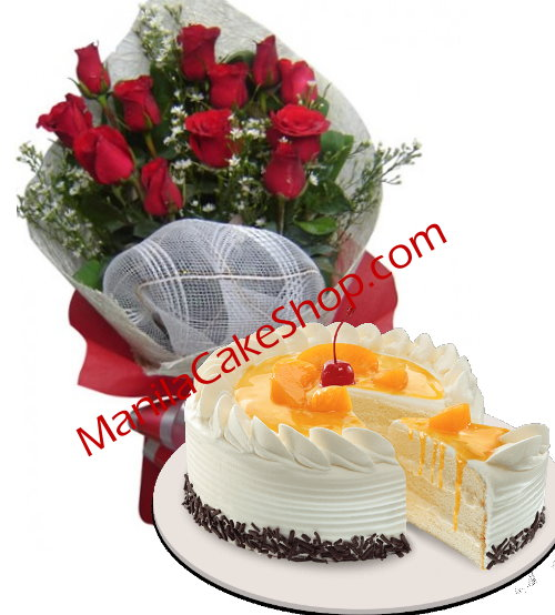Bouquet Of 12 Red Rose With Cake In Manila