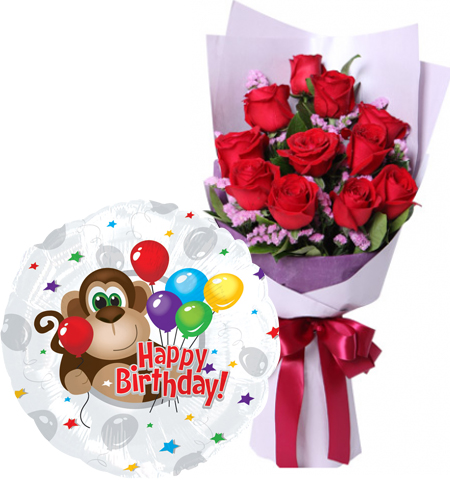 12 Red Roses In Bouquet With Happy Birthday Mylar Balloon To Manila