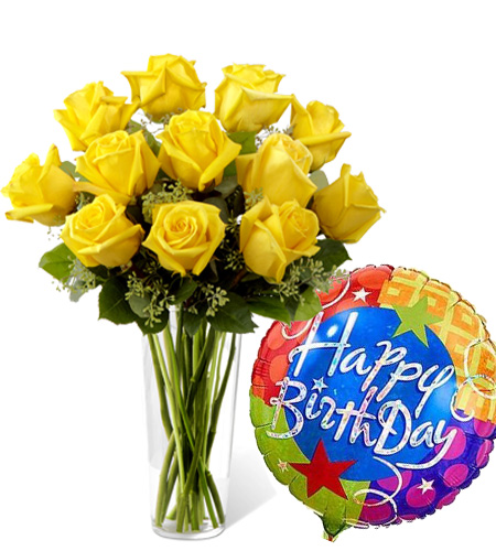 12 Yellow Roses Vase With Birthday Balloon To Manila