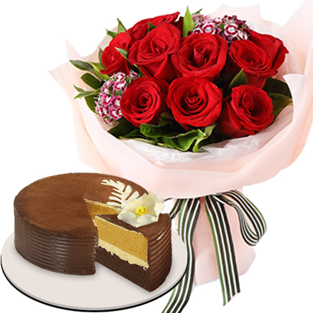 12 Red Rose Bouquet With Cappuccino Cake To Manila