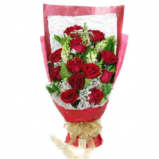 12 red roses with seasonal flower bouquet to manila