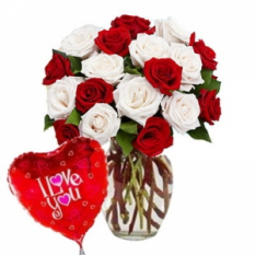 12 Multi Color Rose & Balloon