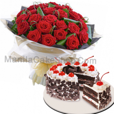 24 Red Roses with Black Forest Cake
