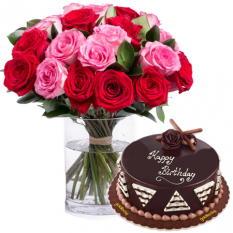 12 Red & pink Roses in Vase w/ Chocolate Cake