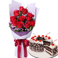12 Red Roses with Black Forest Cake