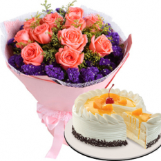 send roses with mango Cake to quezon city