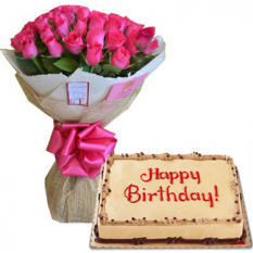 24 Pink Roses with Mocha Dedication Cake