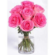 buy half dozen long stem pink roses vase to manila