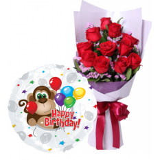 buy 12 red roses bouquet with birthday balloon to manila