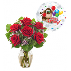 6 red roses vase with birthday balloon to manila