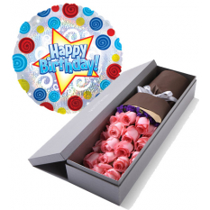 pink roses box with birthday balloon to manila