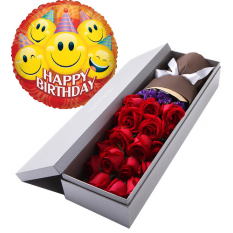 send red roses In box with birthday balloon to manila