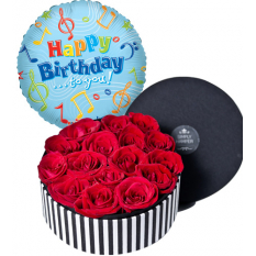 red roses box with birthday balloon to manila