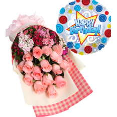 24 pink roses with birthday balloon to manila