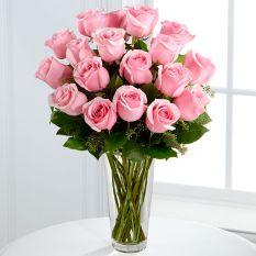 24 pink roses in vase to manila