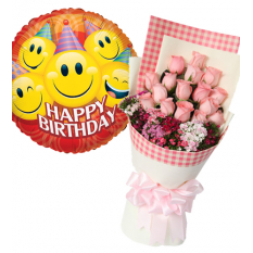balloon with 18 pink roses to manila