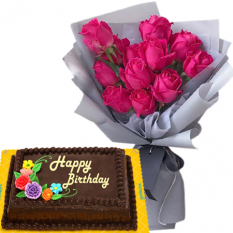 pink rose bouquet with choco chiffon cake to philippines