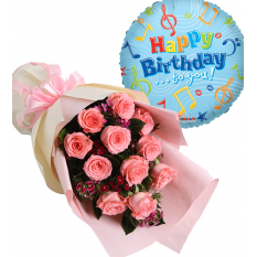 send pink roses bouquet with balloons to manila