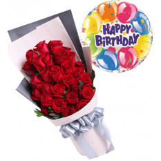 24 red roses with balloon to manila