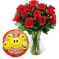 buy birthday balloon with red roses vase to manila