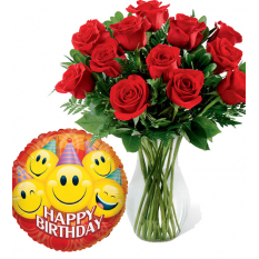 buy birthday balloon with red roses vase to manila