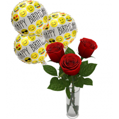 3 balloon with 3 red rose in vase to manila