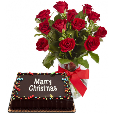 Send Christmas Chocolate Cake by Red Ribbon with 12 Red Roses Vase to Manila