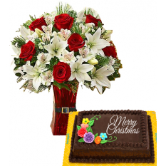 Send ​Christmas Chocolate Cake by Goldilocks with Mix Roses & Lilys to Manila