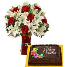 Send Christmas Chocolate Cake by Goldilocks with Mix Roses & Lilys to Manila