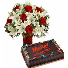 Send Christmas Chocolate Dedication Cake by Red Ribbon with Flower Vase to Manila