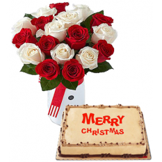 Send Christmas Mocha Cake by Red Ribbon with 18 Red & White Roses to Manila
