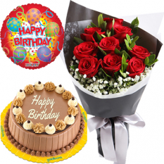 buy red rose bouquet with balloon and cake to manila