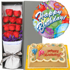 buy red rose box balloon with cake to manila