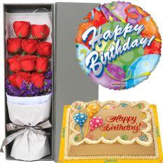 buy red rose box balloon with cake to manila