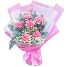 send half dozen pink carnations in bouquet to manila
