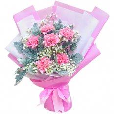 send half dozen pink carnations in bouquet to manila