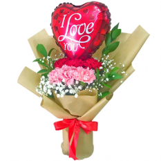 send pink and red carnation and balloon in bouquet to manila