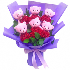 send 6 carnation and 6 mini teddy in bouquet to manila