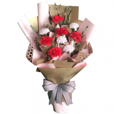 send 9 pcs. red and white carnations in bouquet to manila