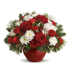 send holiday treasured rose in vase to manila