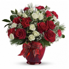 send xmas cutie red rose in vase to manila