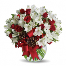 send xmas white alstroemeria in vase to manila